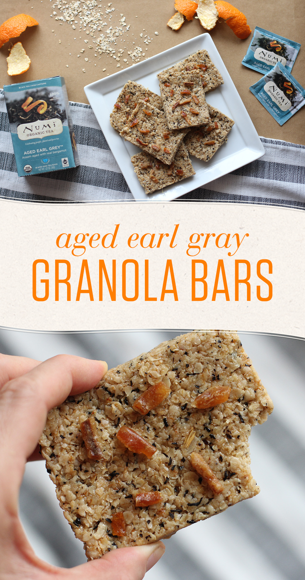 Add a Numi tea twist to homemade granola bars for on-the-go snacking without the heavy sugar and preservatives found in store-bought snacks.