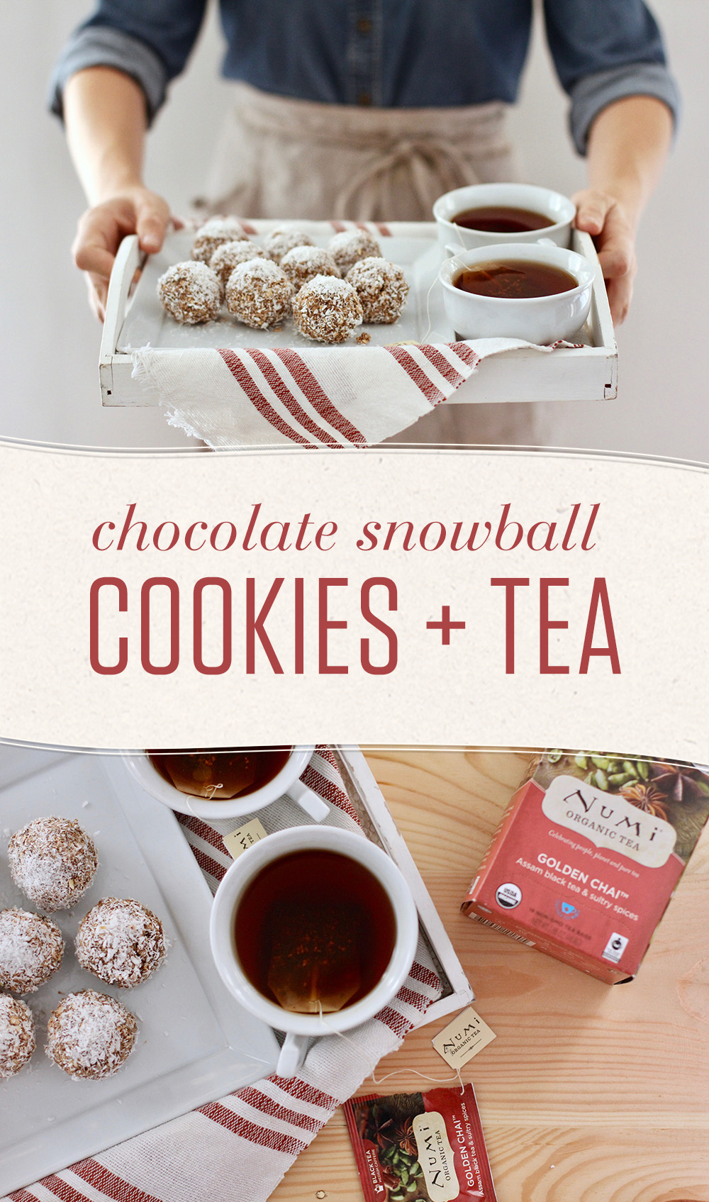Create sweet memories with these no-bake Chocolate Snowball Cookies. They're easy to make and pair beautifully with our Golden Chai tea.