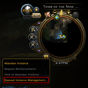 Neverwinter Queued Instance Management at the bottom left of the minimap