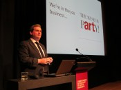 Nick presenting at Christchurch Art Gallery