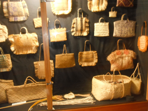 Kete display before labels. Image courtesy of Okains Bay Maori & Colonial Museum.