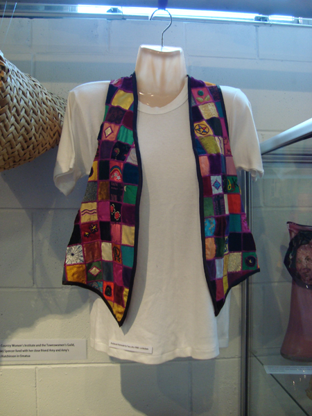 Waistcoat on display. Image courtesy of Charlotte Museum