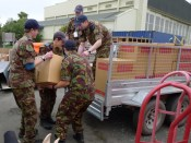 Members of the No.17 Squadron (City of Christchurch) Air Cadets helping the RSA move into the Recovery Centre. Image courtesy of CCCRC.