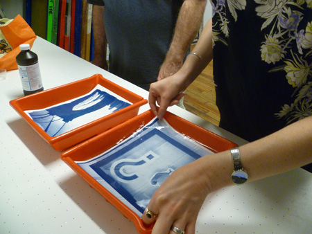 The Guild Project would include workshops and demonstrations in the industrial, craft and folk arts, complementing classes already on offer at AS220 Industries.  I did a cyanotype workshop in the Print Shop while I was on my residency.