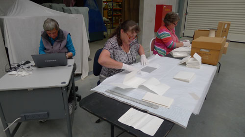 Kaiapoi Museum members busy working with their glass negative collections.