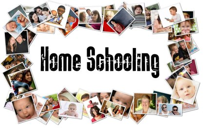 Collage of photos of children titled Home Schooling