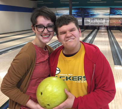 Mary Claire- and Ralph in a bowling alley