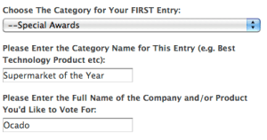 Screen shot of how to vote – category 1