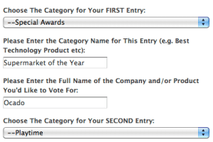 Screen grab of how to vote – category 1