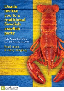 Invitation to the London Swedes Crayfish Party