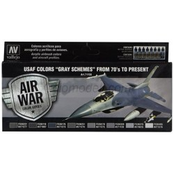"""Vallejo - Model Air USAF Colors """"GRAY SCHEMES"""" from 70's to present. 8 Colores. Bote 17 ml., Ref: 71156"""