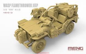 Vehículo Jeep Willys, lanzallamas Wasp. Escala 1:35. Marca Meng. Ref: VS-012.