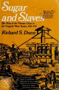 Yellow book cover for Richard Dunn's Sugar and Slaves, published in 1972