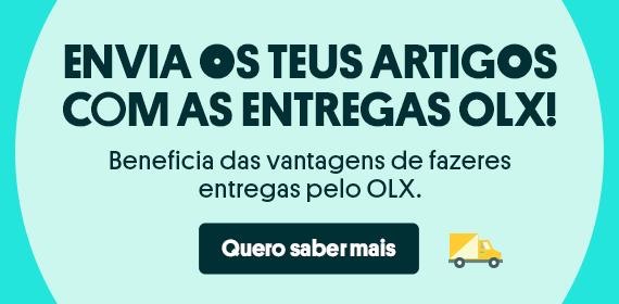Banner com botão e mensagem: envia os teus artigos com as entregas OLX