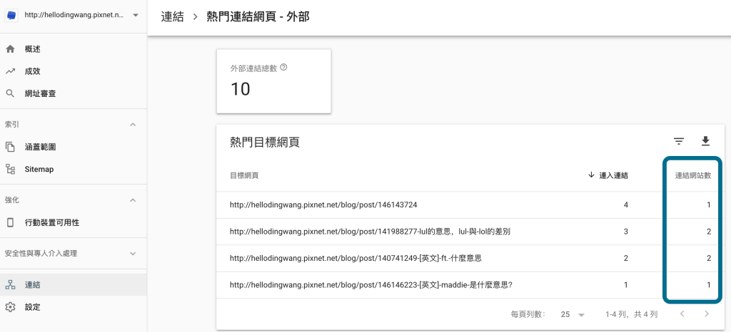 Search Console>連結>外部連結>更多