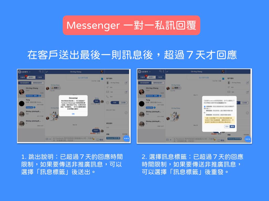 回覆私訊也要遵守 24 小時限制,但是只要用 Omnichat 就可以自動延長到七天。如果七天後還需要回覆,可以選擇適合的訊息標籤再發送。