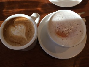 Hot hazelnut latte and grapefruit tea.
