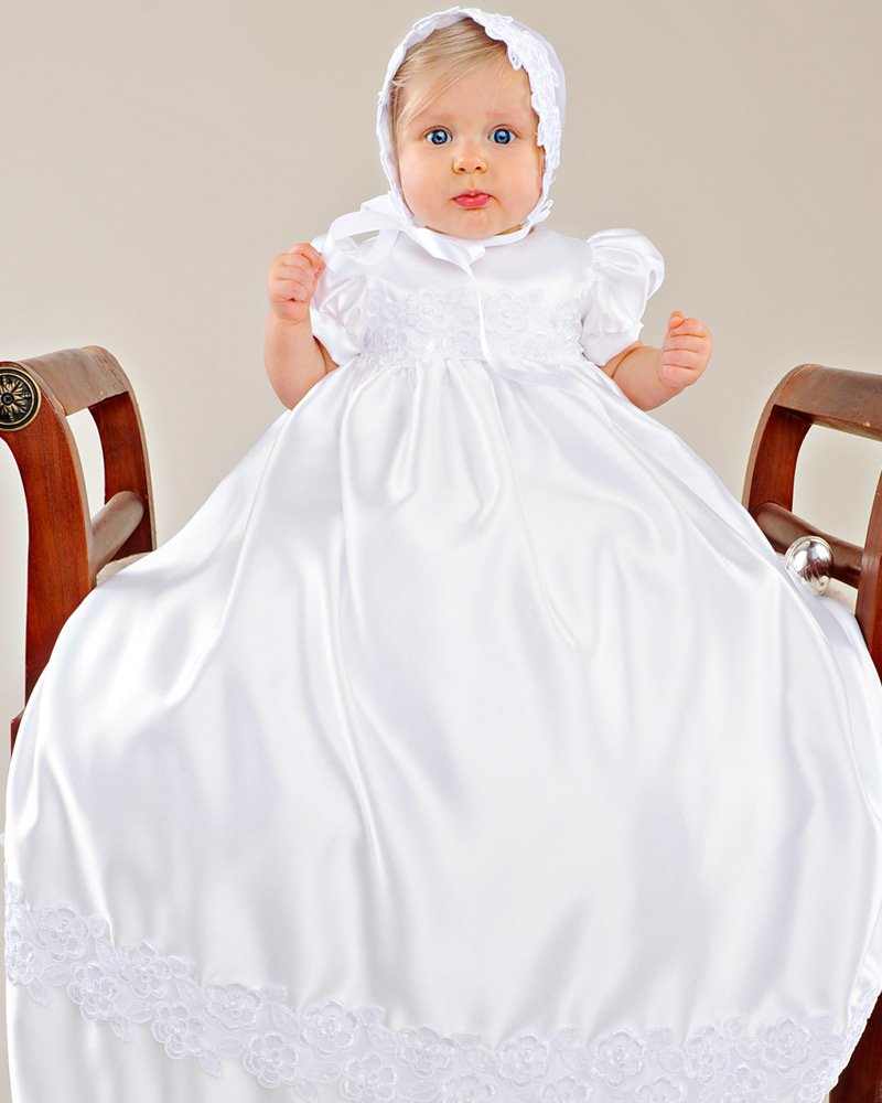 Olivia Satin Christening Gown