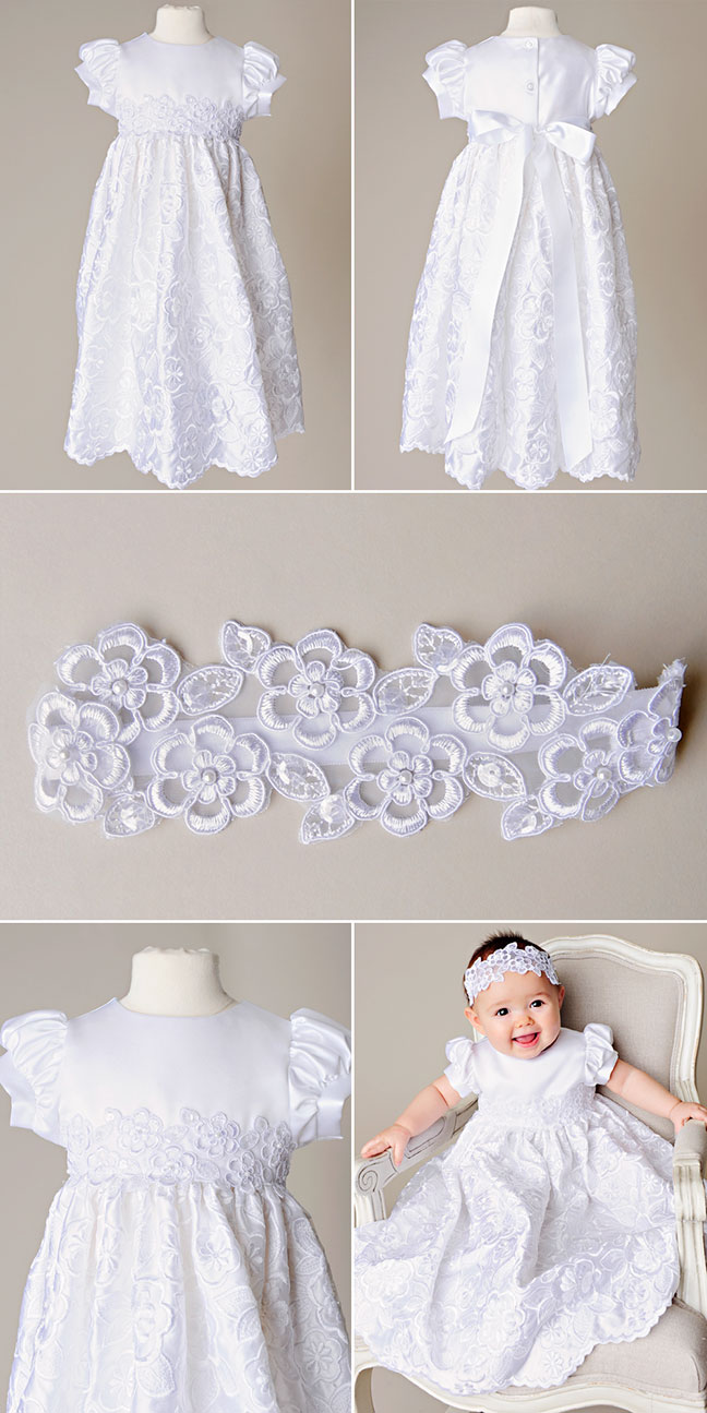 Arianne Satin Baptism Dress by One Small Child