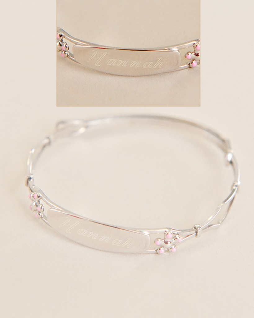 Sterling Flower Bangle Bracelet