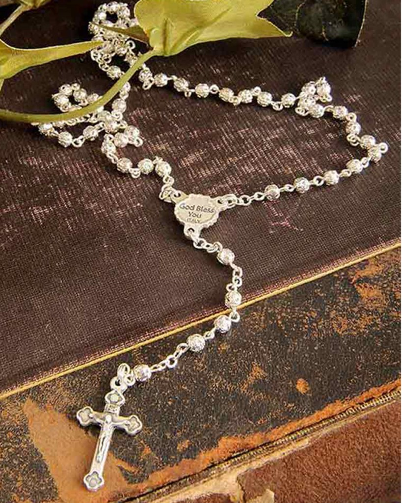 God Bless You Filigree Baptism Rosary