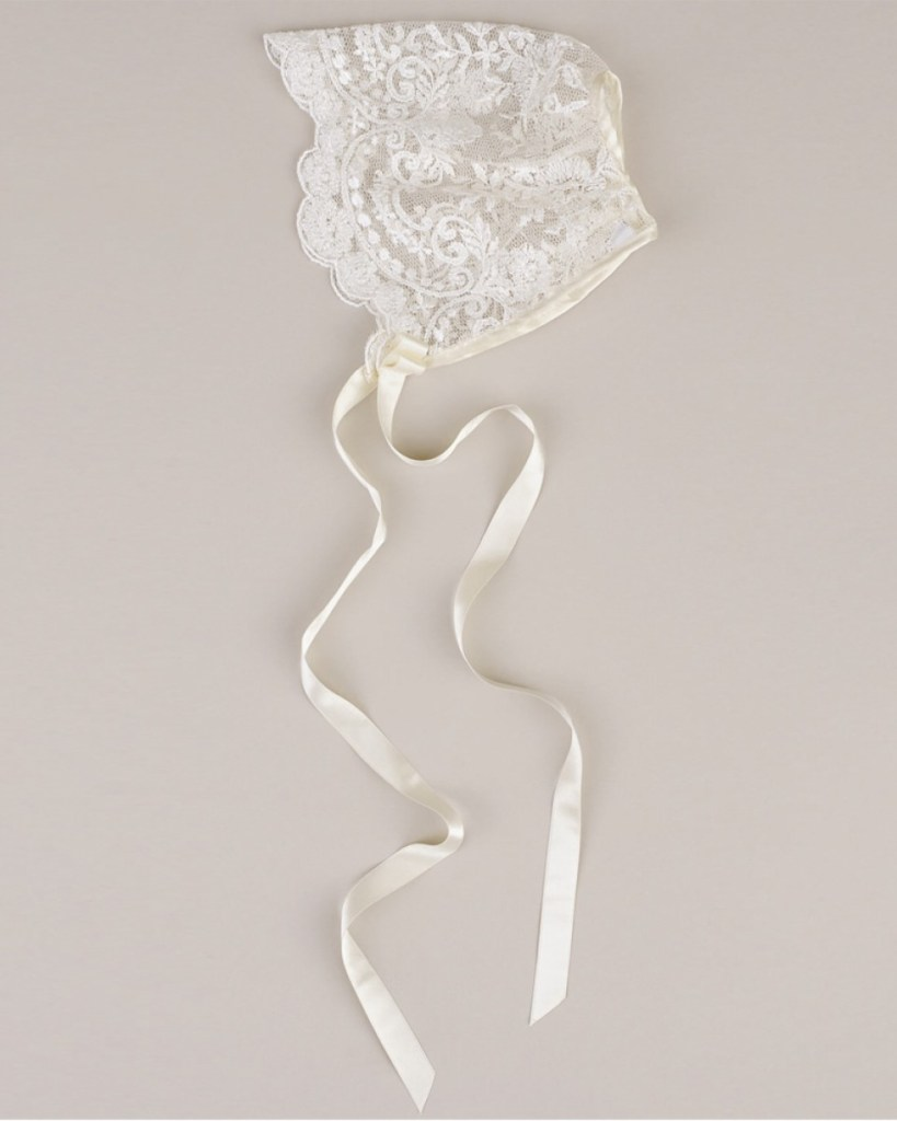 Ivory Embroidered Lace Bonnet