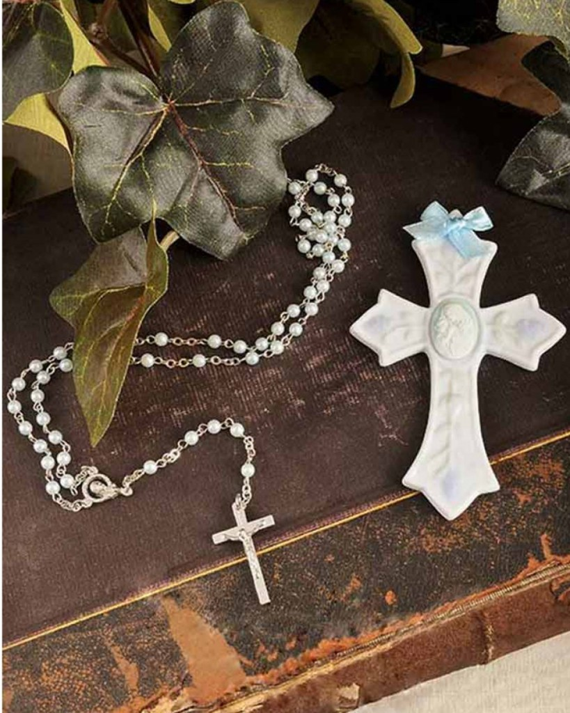 Boy Rosary & Wall Cross Christening Gift Set