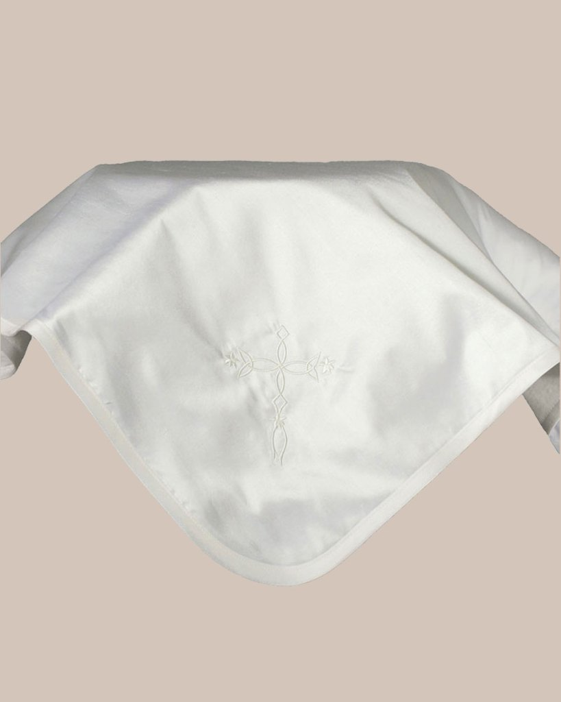 Silk Dupioni Blanket with Embroidered Cross
