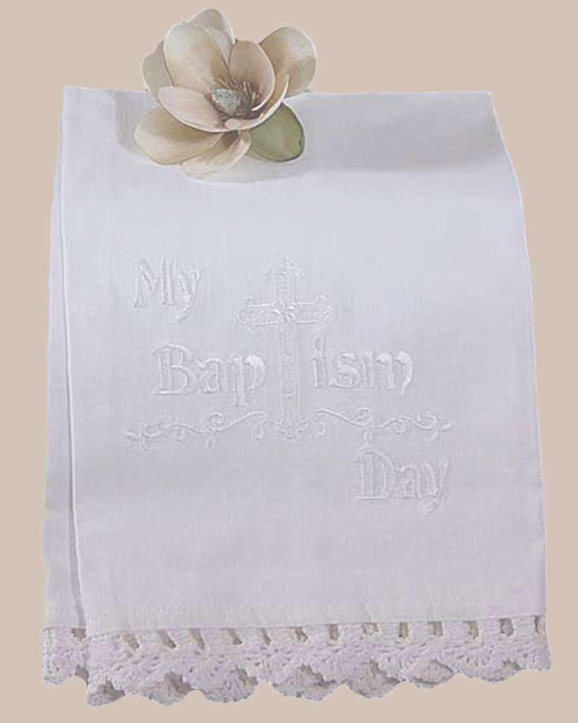 100% White Cotton Christening Towel Baptism Towel with Lace