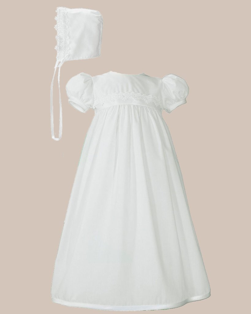 Girls White Polycotton Christening Baptism Gown with Lace Trim & Bonnet