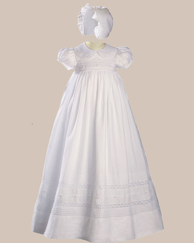 "Girls 33"" White Cotton Short Sleeve Christening Baptism Gown with Hand Embroidery"