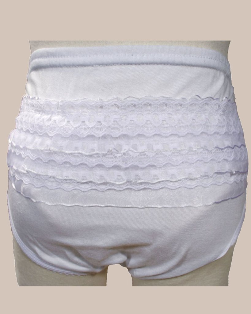 Baby Girls White Poly Cotton Knit Rumba Diaper Cover Bloomers with Lace