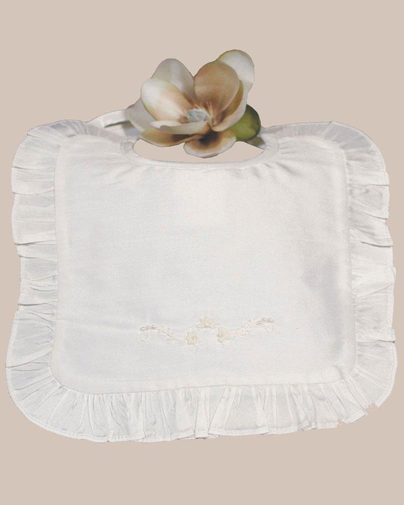 White Silk Dupioni Bib with Ruffles