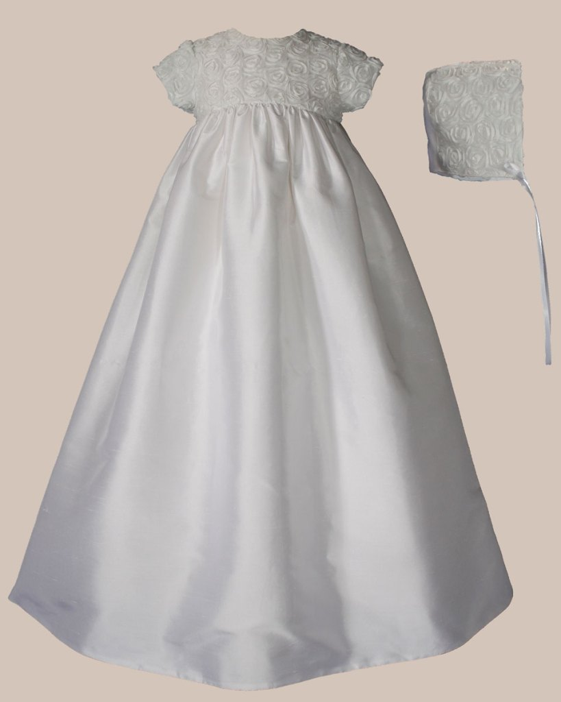 "Girls 32"" Silk Dupioni Christening Gown with Rosette Bodice"