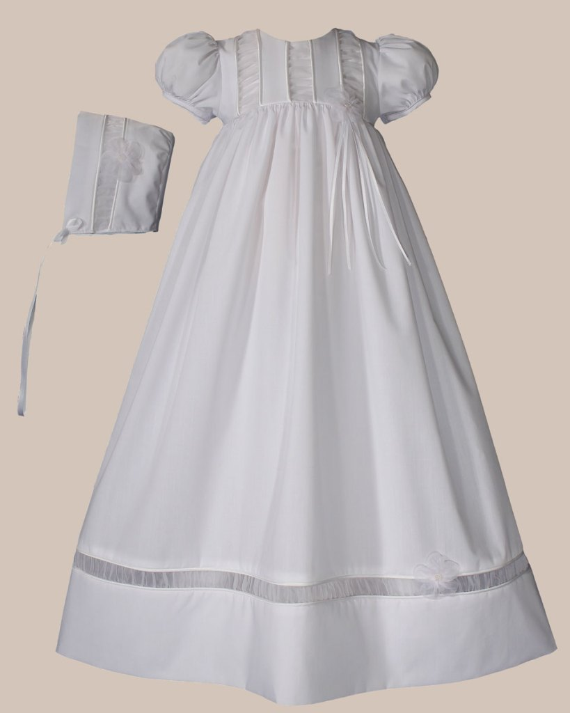 "Girls 30"" Poly Cotton Christening Gown with Organza Ruching Accents and Bonnet"
