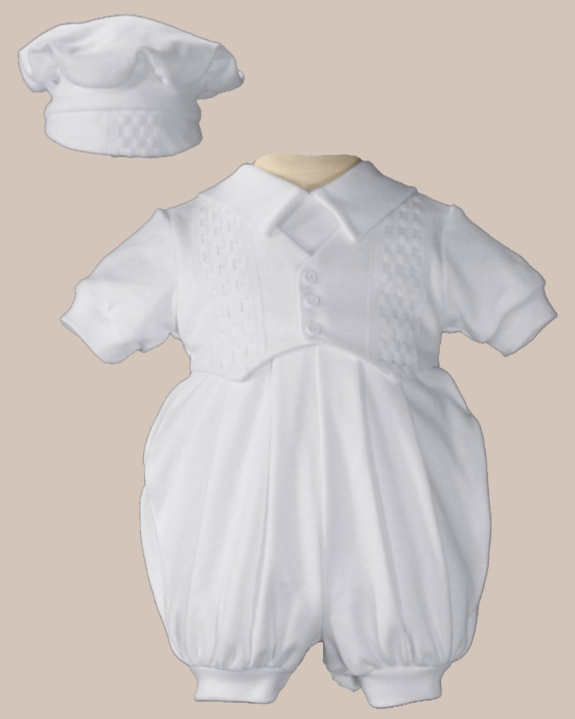 Boys White Short Sleeve Celebration Christening Baptism Set with Hat