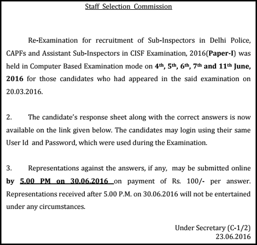 SSC CPO Response Sheet Notification