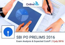 SBI PO Exam Analysis for Prelims Examination 3 July 2016