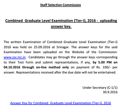 SSC CGL Result Delay Answer Key Srinagar