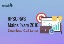 RPSC RAS Mains Admit Card 2016: Download Hall Ticket Now