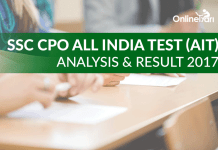 SSC CPO All India Test (AIT) Analysis & Result 2017