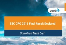 SSC CPO 2016 Final Result Declared | Download Merit List