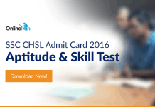 Download SSC CHSL Admit Card 2016: Aptitude & Skill Test
