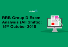 RRB Group D Exam Analysis 2018 (All Shift): 15th October