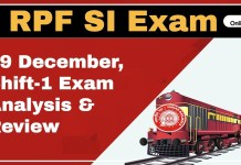 RPF SI (Sub-Inspector) Exam Analysis, Shift 1: 19th December 2018