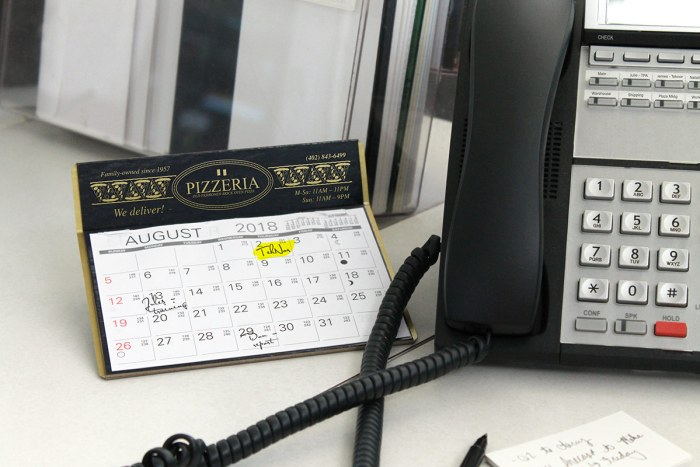 Reference calendar with logo by phone