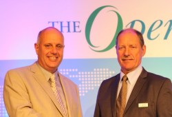 Allen Brown (R), outgoing President and CEO of The Open Group congratulates Steve Nunn (L) as he steps into his new role as President and CEO in April 2015.