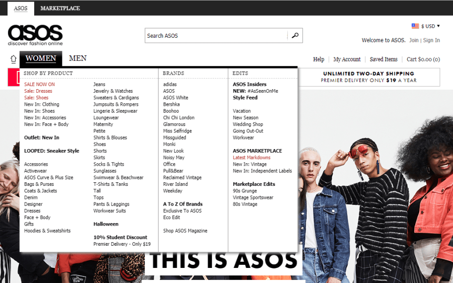 A screenshot of the ASOS 'Women' menu