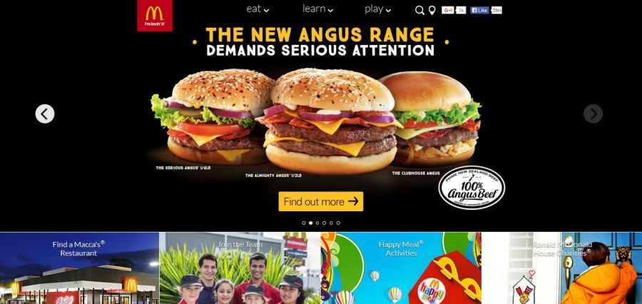 McDonald's New Zealand website with its three-label top navigation bar.