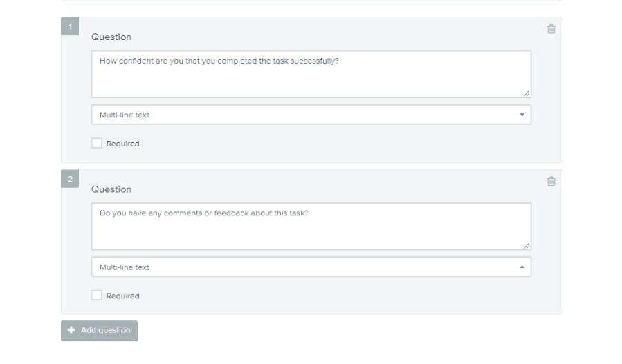 A screenshot of post-study questions for Treejack